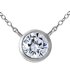 Sterling Silver Bezel Cubic Zirconia Pendant Necklace