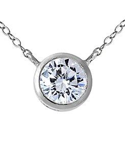 Sterling Silver Bezel Cubic Zirconia Pendant Necklace