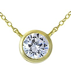 Designs by FMC 18K Gold Plating over Sterling Silver Bezel Cubic Zirconia Pendant Necklace