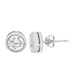 Sterling Silver Bezel Cubic Zirconia Stud Earrings