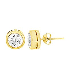 18K Gold Plating Over Sterling Silver Bezel Cubic Zirconia Stud Earrings