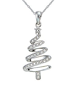 Sterling Silver Christmas Tree Pendant Necklace with Diamond Accent