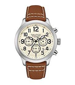 Nautica® Men's Silver/White NCC 01 Chronograph Watch