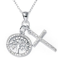 Athra Silver-Plated Tree of life & Cross Necklace