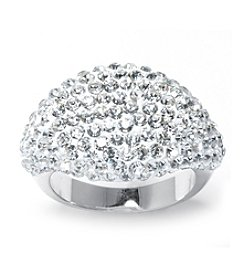 Athra Silver-Plated Crystals Band Ring