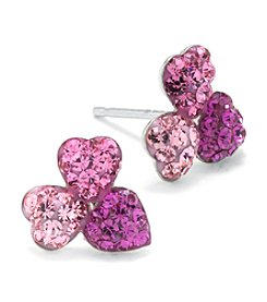Athra Sterling Silver Crystals Stud Earrings