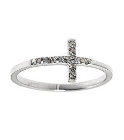 Athra Sterling Silver Sideways Cubic Zirconia Cross Ring
