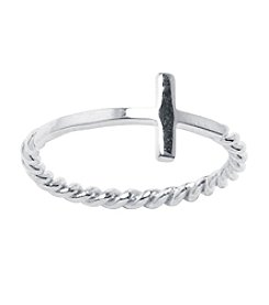Athra Sterling Silver Sideways Cross Ring