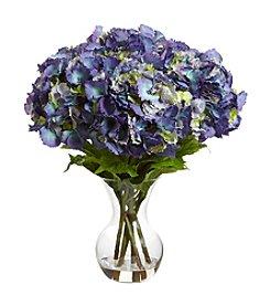 Nearly Natural® Large Hydrangea Silk Flower Arrangement with Vase