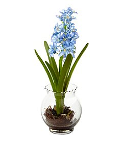 Nearly Natural® Hyacinth and Birds Nest with Vase