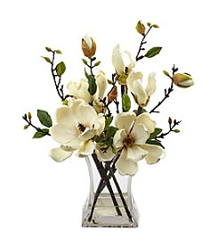 Nearly Natural® Magnolia Arrangement with Vase