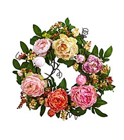 Nearly Natural® Mixed Peony and Berry Wreath