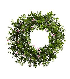 Nearly Natural® Mii Ivy and Floral Double Ring Wreath with Twig Base