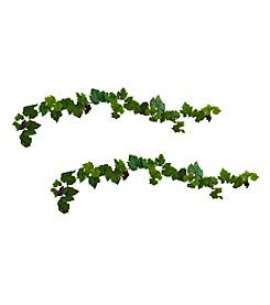 Nearly Natural® Set of 2 Grape Leaf Deluxe Garland with Grapes
