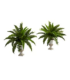 Nearly Natural® Set of 2 Boston Fern with Urn