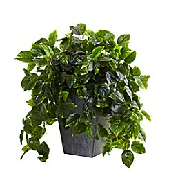 Nearly Natural® UV Resistant Hanging Pothos with Slate Planter