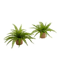 Nearly Natural® Set of 2 Boston Fern with Burlap Planter