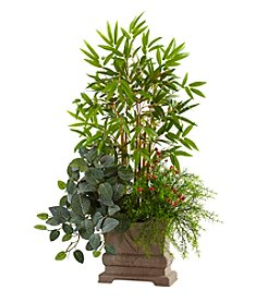 Nearly Natural® Mixed Mini Bamboo, Fittonia and Springeri with Planter