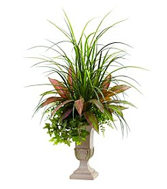 Nearly Natural® Mixed Grass, Dracena, Sage Ivy and Fern Planter