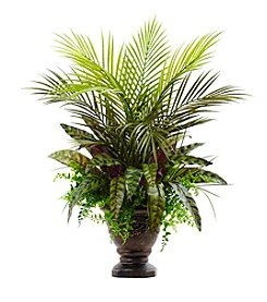 Nearly Natural® Mixed Areca Palm, Fern and Peacock with Planter