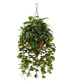Nearly Natural® Vining Mixed Greens with Cone Hanging Basket