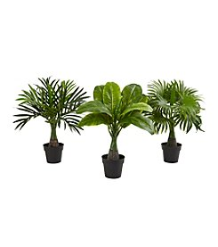 Nearly Natural® Set of 3 Areca, Fountain and Banana Palm