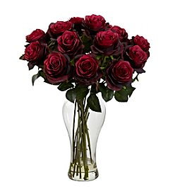 Nearly Natural® Blooming Roses with Vase