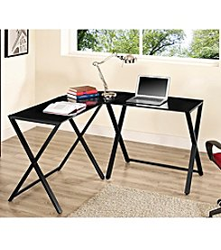 W. Designs X-frame Glass and Metal L-Shaped Computer Desk