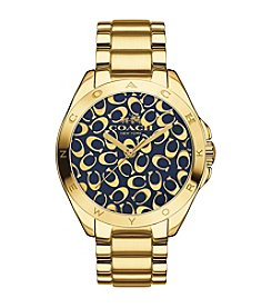 COACH TRISTEN 36MM NAVY COLOR DIAL GOLD PLATED BRACELET WATCH