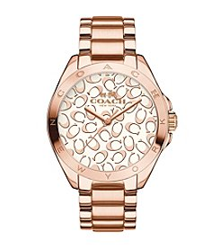 COACH TRISTEN 36MM SIGNATURE ROSE GOLD PLATED BRACELET WATCH