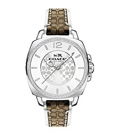COACH BOYFRIEND 34MM MULTIFUNCTION STAINLESS STEEL STRAP WATCH