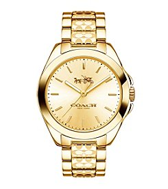 COACH TRISTEN SIGNATURE ETCHED GOLD-PLATED BRACELET WATCH