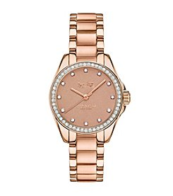 COACH TRISTEN 28MM PEACH COLOR DIAL ROSE GOLD PLATED BRACELET WATCH