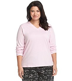 HUE® Plus Size V Neck Pajama Top