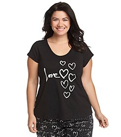 HUE® Plus Size Short Sleeve Lounge Top