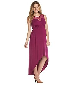 Three Seasons Maternity™ Sleeveless Lace Yoke Solid Dress