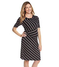 Three Seasons Maternity™ Drape Neck Mix Stripe Dress