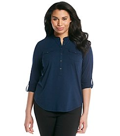 Relativity® Plus Size Solid Roll-Tab Sleeve Henley