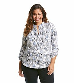 Relativity® Plus Size Printed Henley