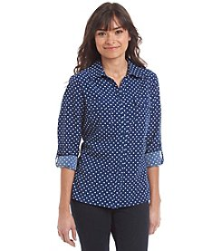 Notations® Petites' Polka Dot Button Up Blouse