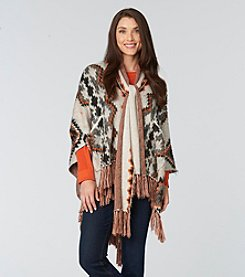 Democracy Geo Printed Sweater Poncho