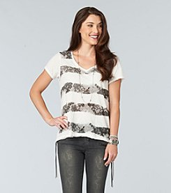 Democracy Snake Print Stripe Tee