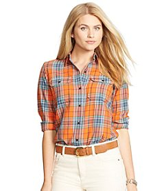 Lauren Ralph Lauren® Plus Size Plaid Cotton Twill Workshirt