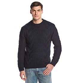 Weatherproof® Vintage Men's Fisherman Cable Crewneck Sweater