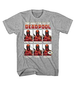 Mad Engine Men's Short Sleeve Faces Of Deadpool Graphic Tee