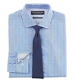 Nick Graham Men's Checkered Dress Shirt With Solid Tie Set
