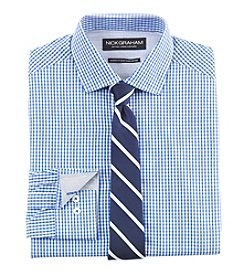 Nick Graham® Men's Gingham Fitted Dress Shirt with Striped Tie Set