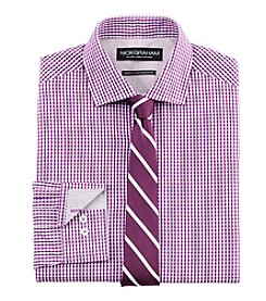 Nick Graham® Men's Gingham Fitted Dress Shirt With Stripe Tie Set