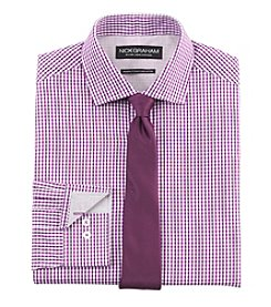 Nick Graham® Men's Gingham Fitted Dress Shirt with Solid Tie Set