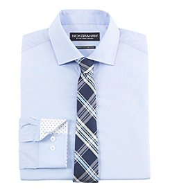 Nick Graham® Men's Solid Fitted Dress Shirt with Plaid Tie Set